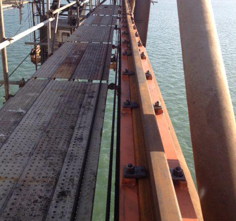 Complete installation of crane rails on ship to shore crane