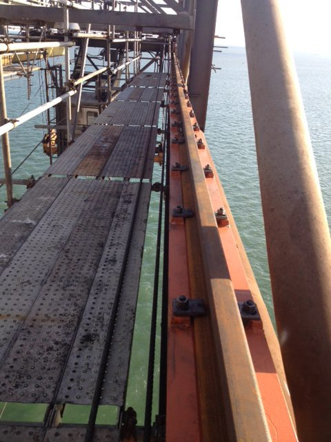 Complete installation of crane rails on ship to shore crane